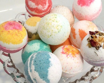 Bath Bomb Lot - 5 Assorted - Surprise - Aromatherapy Bath Bombs, Milk Bombs, Glitter Bombs, Flower Bombs, Valentine Gift