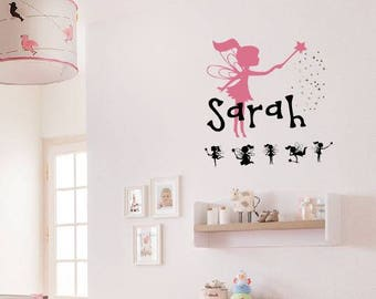 Fairies Wall Decal - Girl Name Wall Decal - Removable Vinyl Wall Decal