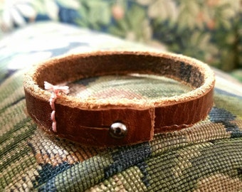 Reserved Listing for Deanna ~~ Bohemian Frayed Leather Cuff, Boho Light Brown Leather [ Underside & Topside Customization add-on]