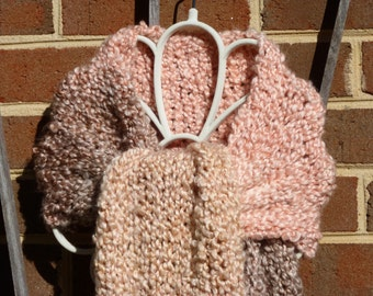 Handmade straight chunky scarf in pink, coral and taupe stripes.  Free domestic USPS priority shipping!!
