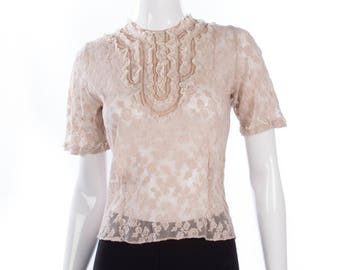 Vintage lace and embroidered top size S