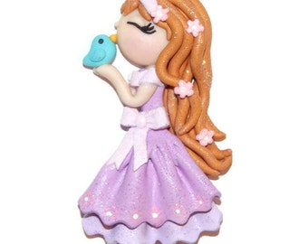 Handmade Purple Dress Girl with Miniature Blue Bird Polymer Clay Pendant/Magnet/Bead/Figure/Ornament or Pin