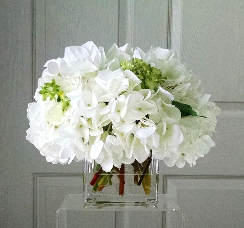 SILK Hydrangea Arrangement -Floral Arrangement-Flower Arrangement-Silk flowers-White Hydrangea -Fake flowers-White flowers-Faux Hydrangea