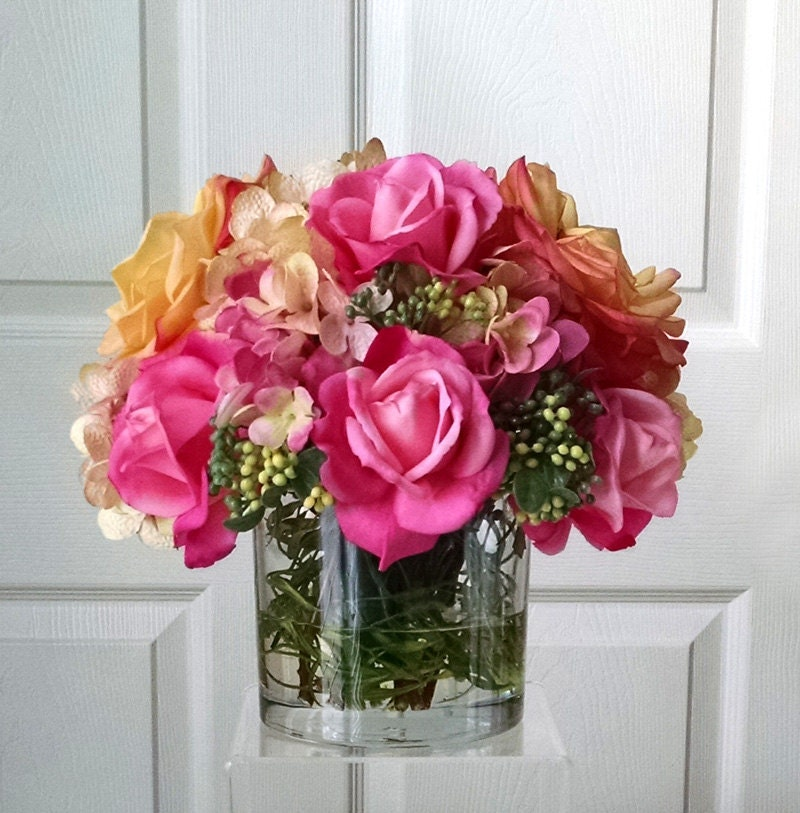 SALE-Real Touch Flowers Arrangement-Silk Flower Arrangement-Silk Flower Centerpiece-Silk Floral Arrangement-Faux Floral Arrangement