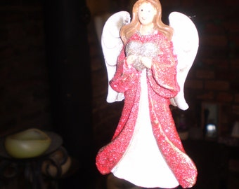 Danish Ceramic Christmas Angel with Heart,Hanging tree or window decoration