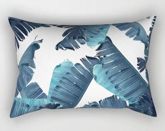 Blue Pillow, Tropical Home Decor, Blue Tropical Throw Pillow, Tropical Glam Accent Pillow, Banana Leaf Pillow, Leaf Print Lumbar Pillow