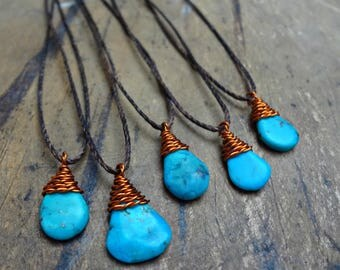 Turquoise & Copper Thread Necklace
