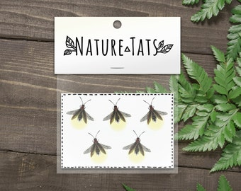 Firefly Temporary Tattoo, Collection of 5, Lightning Bug Tattoo, Glowing Insect, Nature Tattoo