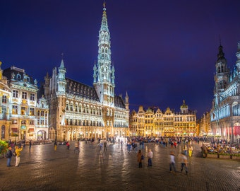Brussels, Belgium. Evening view of the main square, La Gran Place.