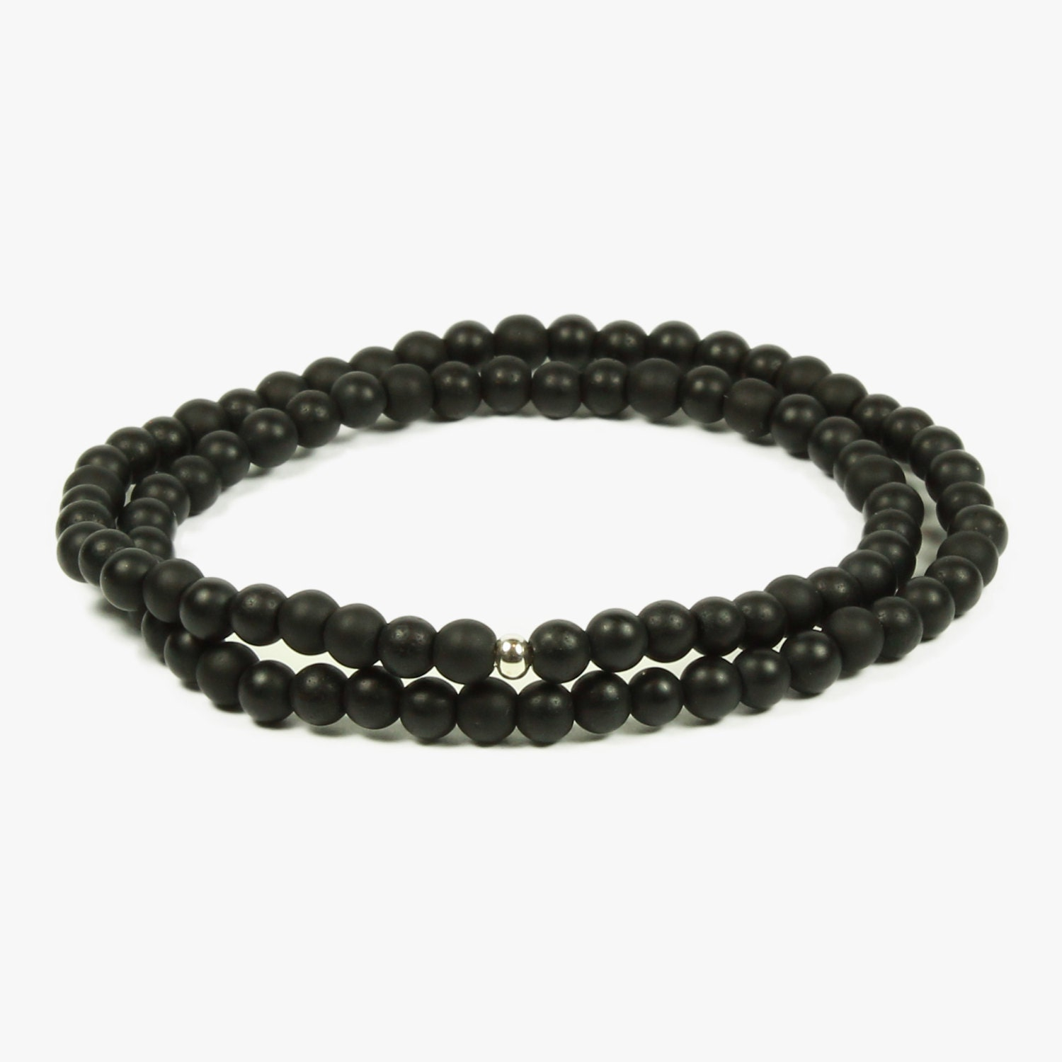 authentic matte black onyx bead bracelet with sterling silver