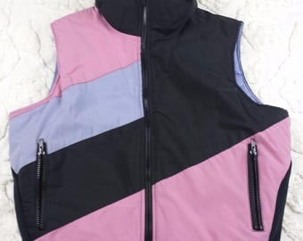 Vtg Serac sz 14 puffer ski snowboard vest pink purple black color block zip