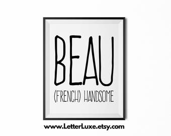Beau Printable Kids Gift - Name Meaning Art - Baby Shower Gift - Nursery Art - Digital Print - Nursery Decor - Typography Wall Decor