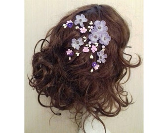 Lilac Lavender Cherry Blossom Flower Floral Hair Clips Acessories