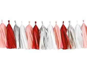 Red + Peach + Gray + White | Tassel Garland | Tissue Tassel Garland | FOLI + LO