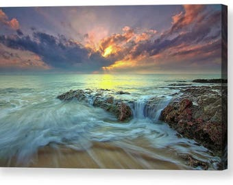 Dramatic Seascape Sunset Waves 006 Photo Canvas Box Art A4, A3, A2, A1 ++