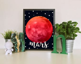 Watercolor Mars Print