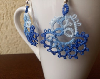 Blue and White Tatted Lace Earrings, Blue and White Chandelier Earrings, Romantic Earrings