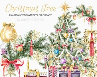 Watercolor Christmas Clipart, Christmas Tree, DIY clipart, Hand Painted, Stickers Illustration, Xmas Tree, Watercolor Set Christmas Graphics