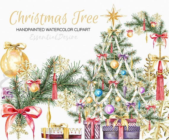 Watercolour Christmas Tree: Watercolor Christmas Clipart Christmas Tree DIY Clipart