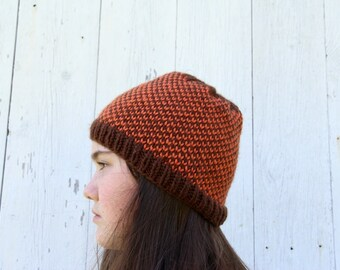 Autumn Colors Knit Hat - Brown and Orange Checkered Hat - Fair Isle Knit Hat - Scandinavian Hat - Winter Beanie - Orange Beanie - Hand Knit
