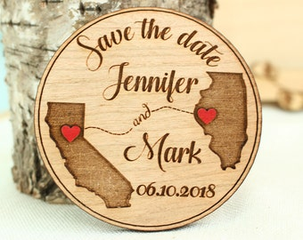 Wood Save-the-date Magnet, Save the date, Wedding save the date,Rustic Wedding Save the Date,Wood Wedding Save the date, State save the date