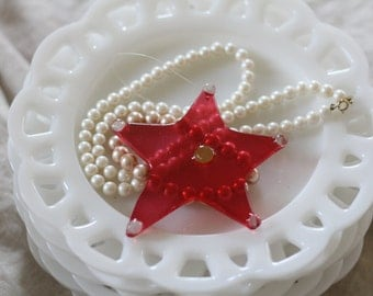 Christmas Ornament Star Red Glass