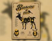 Butchering a Deer - Hunting Print - Deer Cuts - Venison - Wall Art Print - Home Decor - 18x24