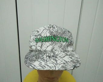 Rare Vintage WASHINGTON Map Full Printed Cap Hat Free size fit all