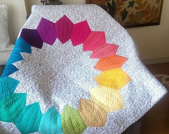 Modern throw. Ombre quilt. Colorful quilt.  Lap quilt. Color wheel decor. Homemade quilt sale. Baby quilt. Wedding gift. Housewarming gift.