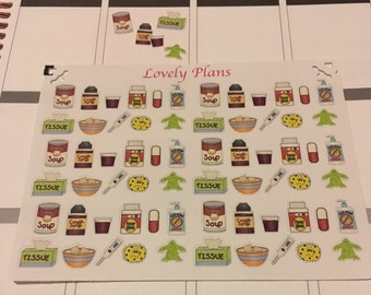 Sick day Cold/flu planner stickers