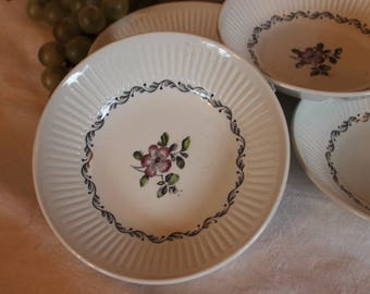 "Set of 7 Johnson Brothers 5.25"" Fruit or Dessert Bowls - Plum Blossom Pattern, Purple Flowers"