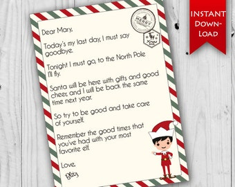 Elf Goodbye Letter   Holiday Stationary   Printable Elf Letter      Editable to add name & elf name {instant download}