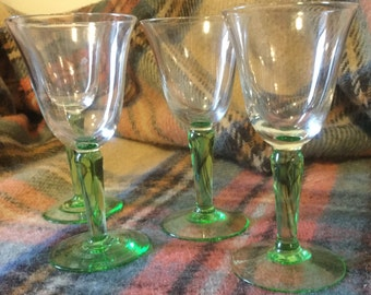Green stemmed Sherry glasses