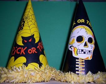 2 Vintage Halloween Cardboard Party Hats, Bat, Skeleton, Fringe, 1960's