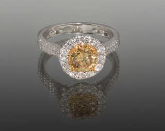18K GIA Certified Yellow Diamond Ring