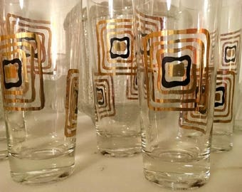Vintage Mid-Century Modern Highball Tumblers Glasses Mod Gold and Black Squares Cubism