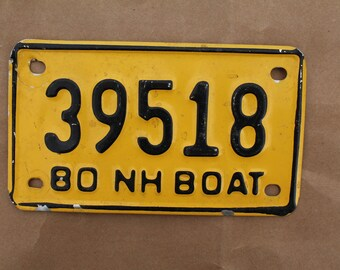 Vintage 1980 New Hampshire Boat License Plate