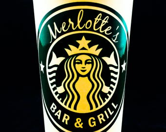 "True Blood inspired ""Merlotte's Bar & Grill"" Starbucks Travel Cup"