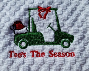 Christmas Golf Towel - Embroidered Golf Towel - Tees The Season Golf Towel - Golf Towel - Embroidered Christmas Golf Cart Towel