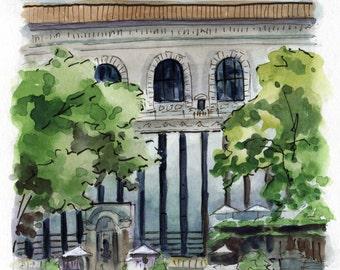 6x6 Original Watercolor Painting - Bryant Park