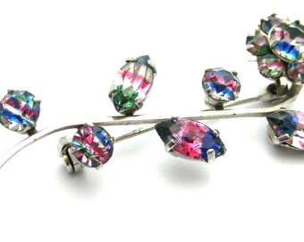Vintage 1950s Brooch | Iris Glass Brooch | Vintage Brooch | Vintage Pin | Flower Brooch | Iris Glass Pin | Floral Brooch | Floral Pin