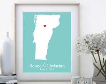 Vermont Map State Vermont State Vermont Wall Art Vermont Wedding Vermont Home Vermont Gifts Wedding Decor 19 Year Wedding Anniversary Gifts