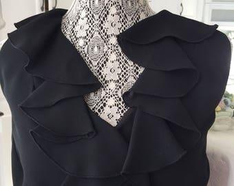 RETRO RUFFLES ALGO Black Dress/Tea Length Loop and Button/Simple Mad Men Style