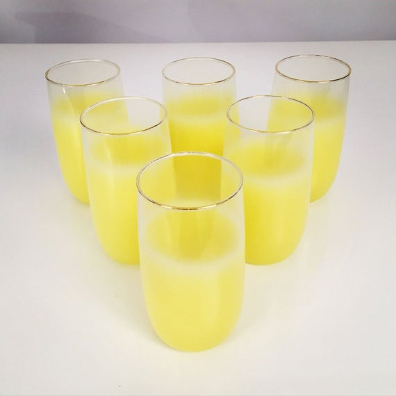Set of 6 High ball glasses in yellow frosted color