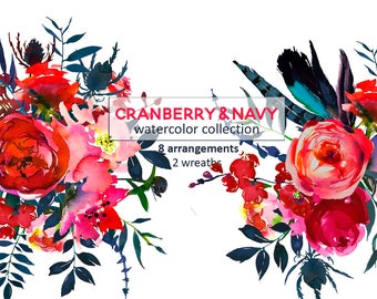 Red Navy Watercolor Flowers Boho Chic Clipart Tribal Floral Bouquets Sprays Wreaths PNG Hand Painted Florals Scarlett Indigo  Bull Scull