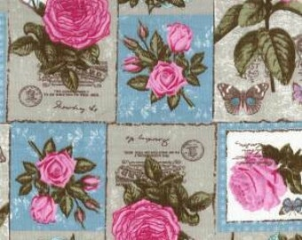 Vintage Fabric - Shabby Chic Design - 100% Cotton Canvas Fabric - Sold by yard - Dressmaking Fabric - Cafting Sewing Supplies