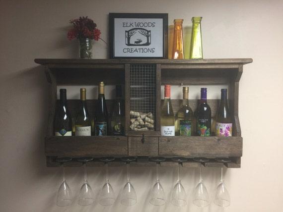 Wooden Wine Rack With Cork Holder & Wine Glasses Holder