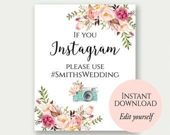Instagram Wedding Sign, If You Instagram Sign, Instagram Sign Template, Editable Signs, Wedding Hashtag Sign, Instagram Sign, Wedding Props