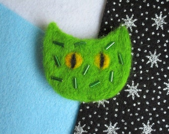 On sale! Cactpuss - Handmade Needle Felted Brooch - was 25 pounds