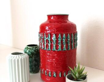 Vintage ceramic vase 1474-30 flower vase flower pot Germany red green 70s fat lava